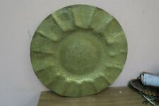 """Vintage Engraved Etched Moroccan Brass Round 13.5"""" Tray Plate Morocco"""