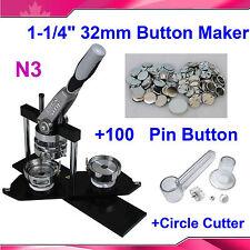 "NEW 1-1/4"" 32mm Kit! N3 Badge Button Maker Machine+Circle Cutter+100 Pin Badge"