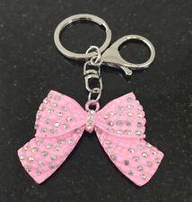 Bag Charm Key Ring Bow Diamante Crystal Pink Keychain Handbag