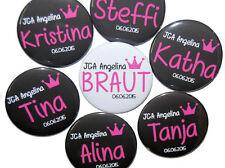 10 x JGA Buttons groß eckig Junggesellinnenabschied Feier Krone Namensschild