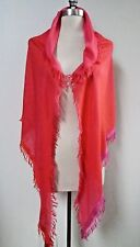 NEW LORO PIANA $795 Demi Carre Duo Rainbow red pink cashmere silk scarf shawl