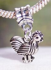 Chicken Rooster Hen Bird Animal Farm Dangle Charm for European Bead Bracelets