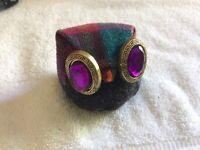 Decorative Owl with Jeweled Eyes Folk Art