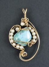 CARIBBEAN BLUE LARIMAR PENDANT IN GOLD WIRE WRAP PEARLS