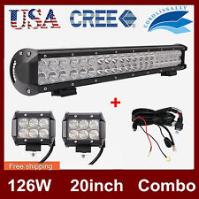 20'' 126W CREE LED Light Bar Offroad +2X 4'' 18W Flood Lamp +Wiring 12V 24V SALE