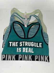 Pink by Victoria Secret Sport Bras Size Medium Low Padding (3 Bras) EXCELLENT