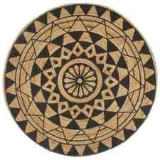 vidaXL Handmade Rug Jute With Black Print 90cm Room Floor Protector Carpet