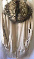Michael Kors Long Beige sweater/jacket w/ huge faux fur collar Size M.