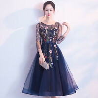 Women Crew Neck Embroidered Long Dress Lace Mesh Cocktail Formal Evening Dresses