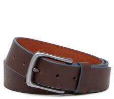 NWT BOCONI Contrast Trim Leather Men's Belt Brown/Blue Size 36 $95