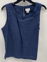 Liz Claiborne Linen Sleeveless Top Indigo Blue Size Medium New With Tags