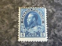 CANADA POSTAGE STAMP SG205B FIVE CENTS DEEP BLUE LIGHTLY-MOUNTED MINT