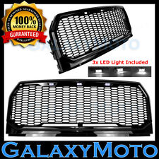 15-17 Ford F150 Raptor Style Black Replacement Mesh Grille+Shell+White LED Light