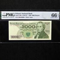1988 Poland 5000 Zlotych, Pick # 150c, PMG 66 EPQ Gem Unc.