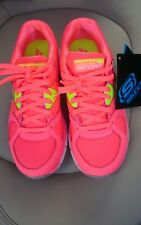 Skechers Ladies Sport Trainers UK 2 Fluorescent Pink Leather & Synthetic