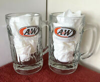 """Vintage Pair """"A&W"""" Root Beer """"All American Food"""" Super Heavy Thick Glass Mugs 6"""""""