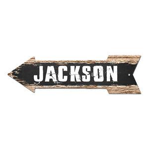 AP-0210 JACKSON Arrow Street Tin Chic Sign Name Sign Home man cave Decor