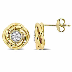 Amour 14k Yellow Gold White Topaz Accent Swirl Halo Stud Earrings