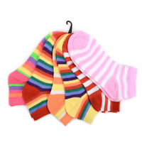 PKG of 6 Pairs Stripes Women's Low Cut Socks - Sock Size: 9-11