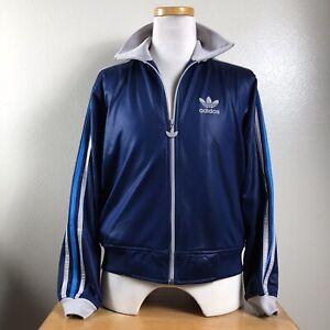 Vintage Adidas Full Zip Track Jacket Trefoil Blue Medium