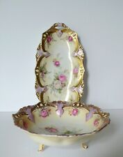 Antique German RS Prussia Roses Small Footed Bowl And Tray
