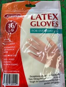 16 Pack Meditex Latex Gloves Disposable Powder Free One Size Fits All New