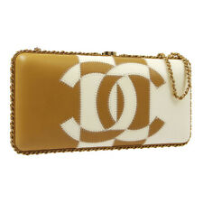 CHANEL CC Chain Clutch Shoulder Bag Bi-Color Beige White Leather AK25908d