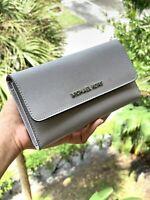 Michael Kors Women Medium Large Leather id Wallet Credit Card Holder Grey Silver