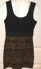 Womens H&M~Little BLACK & GOLD DRESS~size SMALL~NEW Mini Cocktail Stretch~Short