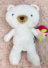 "Hallmark 14"" Bella Soft Plush Bear White W/ Rosy Cheeks & Flower Rose"