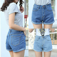 Vintage Womens High Waisted Jeans Shorts Denim Pants Hotpants Summer Trousers US