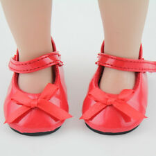 Fashion Doll Shoes Fits 18'' American Girl Doll Red Leather Shoes Reborn Dolls