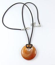 Para mujeres Luz Marrón Marrón Colgante de piedra natural Donut PU Cordón Gargantilla Collar
