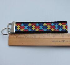Autism Awareness Key Fob Grosgrain Ribbon Webbing Keychain Wristlet