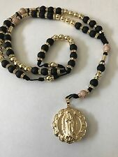 Our Lady of Guadalupe Sacred Heart Rosary Gold Filled Black Matt Beads Hand Made