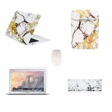 """5 IN 1 Macbook Air 13"""" Marble White/Gold Case + Keyboard Skin+ LCD + Bag + Mouse"""