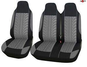 For Vauxhall Opel Vivaro Movano Tyre Design Grey Soft Fabric Van Seat Covers 2+1