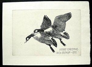 Vtg. Orig. 1972 Christmas Card Etching by Richard Bishop -- Canada Geese