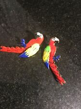 Lunch At The Ritz LATR  Red Parrot Macaw? Post Earrings  1.5""