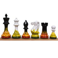 """4.1"""" Fire & Ice Painted Staunton Weighted Wooden Chess Pieces set Extra queens"""