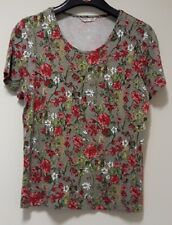 Ladies Anna Rose grey / red / green patterned cotton top  -  size M