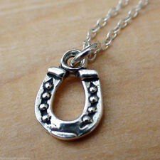Horseshoe Necklace - 925 Sterling Silver - Horse Shoe Charm Jewelry *NEW* Luck