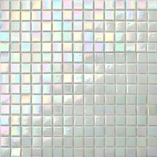 Iridescent White Vitreous Glass Mosaic Tile feuilles (GTR10131)