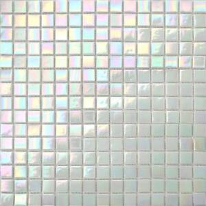 Iridescent White Vitreous Glass Mosaic Tile Sheets (GTR10131)