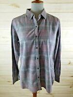 Woolrich Women's Size Large Gray Pink Plaid Corduroy Long Sleeve Shirt
