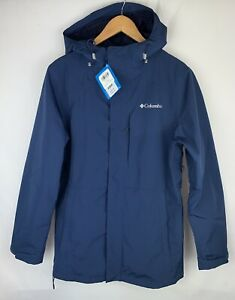 Columbia Mens Size Small Rain Jacket  Mountain Omni Tech Navy Blue NWT