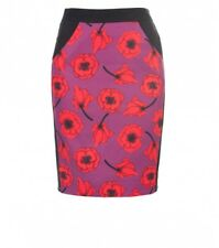 "ALANNAH HILL ""She's Messed Up"" Pencil Skirt- Black/Red/Purple Floral Designer- 6"