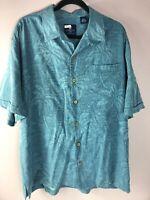 Caribbean Joe Hawaiian Camp Shirt Silk Textured Palm Trees Men's XL Light Blue