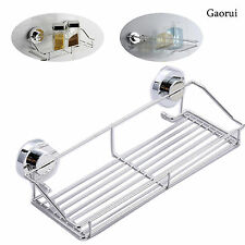 Stainless Steel Sucker Bathroom Shower Shelf Kitchen Storage Basket Holder
