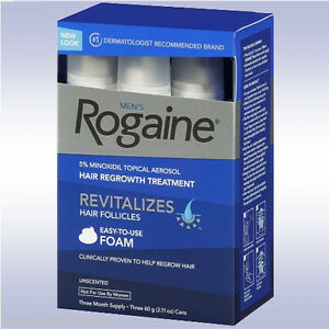 ROGAINE MENS FOAM (3 MONTH SUPPLY) 5% minoxidil topical 12 9 6 box regaine hair